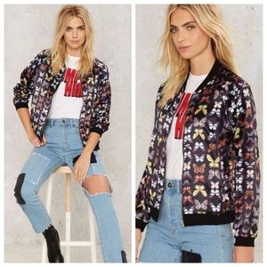 Nasty Gal butterfly bomber jacket